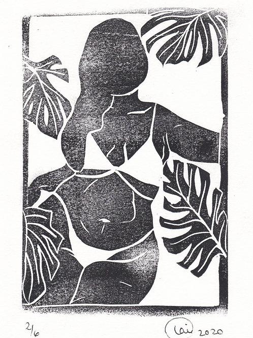 monstera+woman print