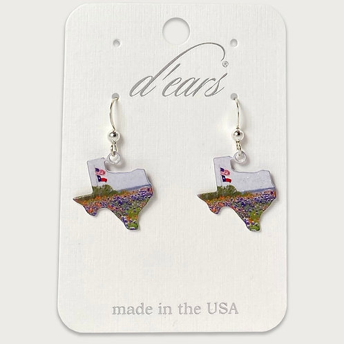 Texas Shape / Texas Flag Bluebonnet Earrings