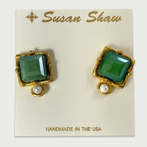 Green Susan Shaw London Earrings