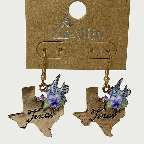 Gold Texas Shaped Bluebonnet Earrings