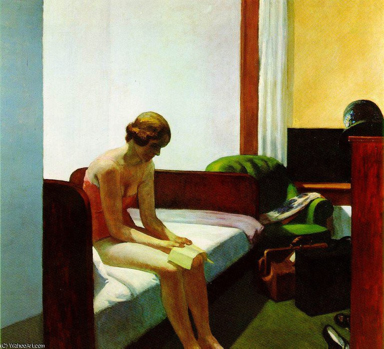 """Hotel Room"" - Edward Hopper, 1931, Copyright: https://en.wahooart.com"