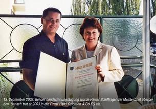 Überreichung des Meisterbriefes an Rainer Schiffinger 2002