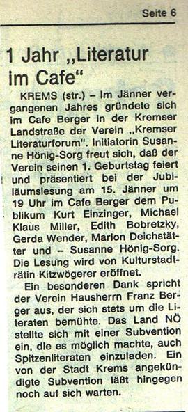 """1 Jahr """"Literatur im Cafe"""""""