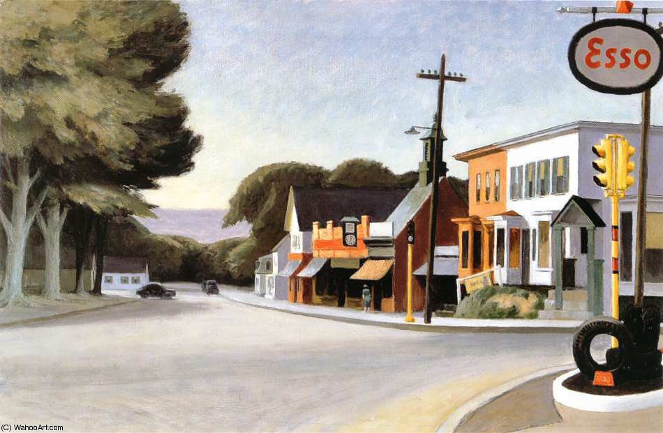 """Portrait of Orleans"" - Edward Hopper, 1950 (Orleans, Cape Cod, MA), Copyright: https://en.wahooart.com"