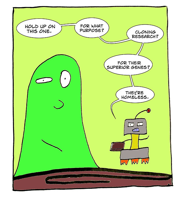 Box and Slime webcomic posts every Monay and Friday. Genome Collections is this week's humorous, scifi comic strip.