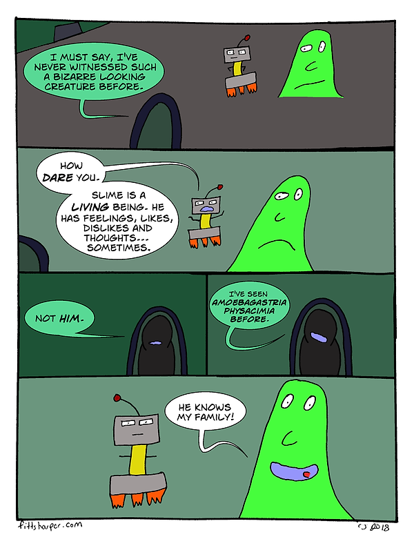 Box and Slime webcomic posts every Monay and Friday. He Knows Me is this week's humorous, scifi comic strip.