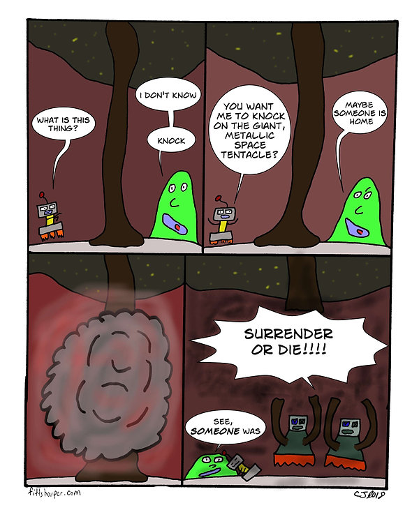 Box and Slime webcomic posts every Monay and Friday. Just Knock is this week's humorous, scifi comic strip.
