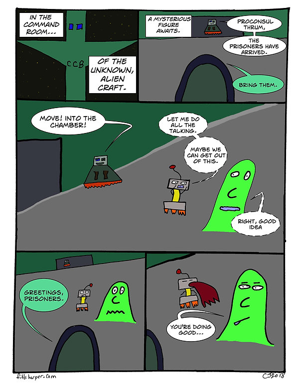 Box and Slime webcomic posts every Monay and Friday. Doing Good is this week's humorous, scifi comic strip.