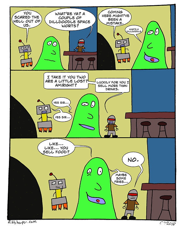 Box and Slime webcomic posts every Monay and Friday. Yes, I am a Dilldoodle is this week's humorous, scifi comic strip.