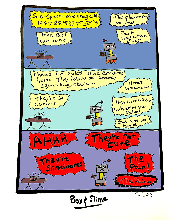 Box and Slime webcomic posts every Monay and Friday. Adorable Creatures is this week's humorous, scifi comic strip.