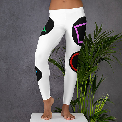 Controller Buttons Leggings-White