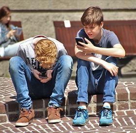 Boys, kids, children on phones