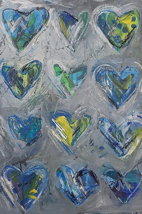 Heart Art in blue