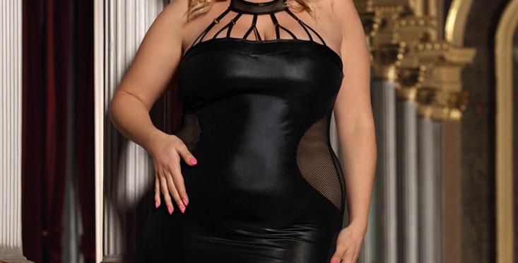 Black Mesh & Faux Leather Dress