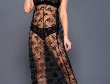 Elegant Black Floral Lace Gown Set