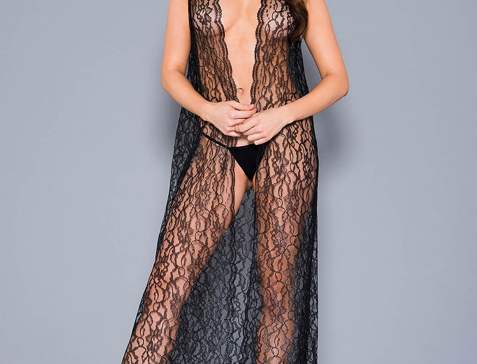 Draping open lace gown with g-string