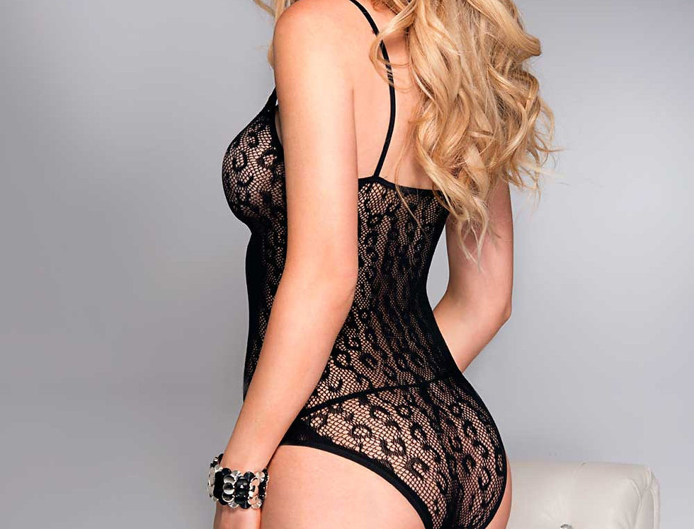 Leopard Fishnet Teddy With Front Cut Out