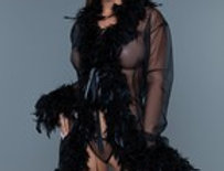 Chandelle Feathers Short Robe