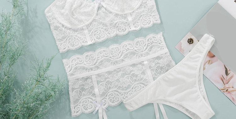 Garden Lace Bralette, Garter Belt and G-String