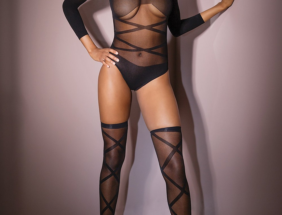 Long Sleeve Teddy With Stockings