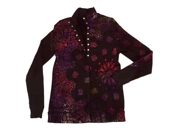 Mock Snap Jacket Bandana Blk/Grape