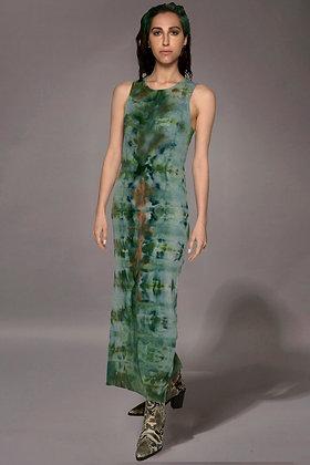 Rib Lean Dress Fold Dice Green