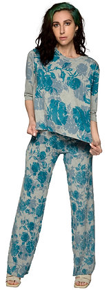 French Terry Stovepipe Pant Heather Blue Rose