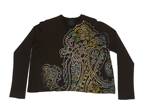 French Terry Crop Top Paisley Blk/Blue