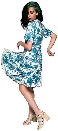 Collar Swing Dress Rose Blue