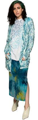 French Terry Long Cardigan Splat Blue