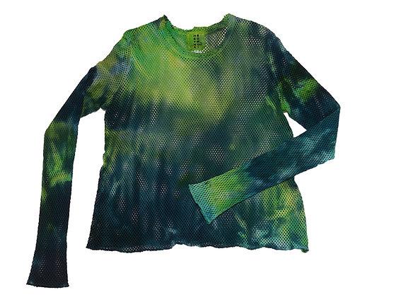 Net Crop Top Lime/Blue