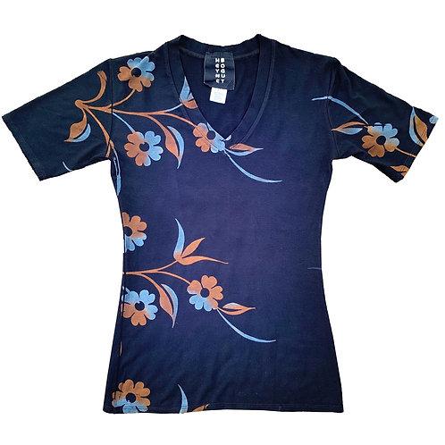 Fitted Short Sleeve V Neck Stem Print Blue