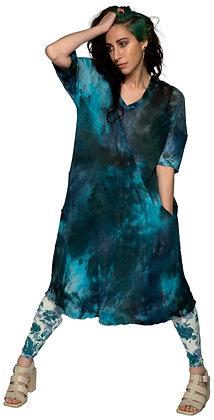 Net Pocket Dress Blue Dice