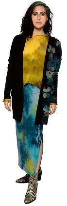 Fleece Slit Skirt Heather Dice Blue/Yel