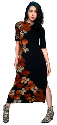 Half Sleeve Midi Pinch Dress Side Petal Rust