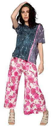 French Terry Crop Palazzo Pink Rose
