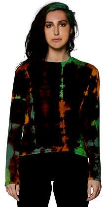 L/S Crop Top  Dis Fold Rust/Green