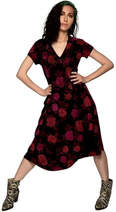 Collar Swing Dress Dis Rose Pink/Blk