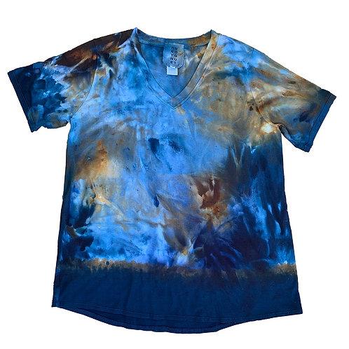 Short Sleeve Easy V Landscape Blue