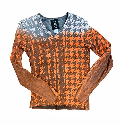 Classic L/S V Houndstooth Tee