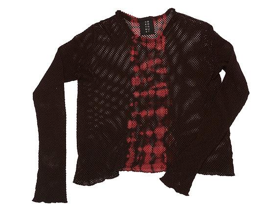 Net Crop Top Black/Red