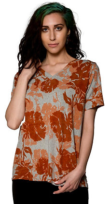 S/S Easy V Tee Roses Heather Rust