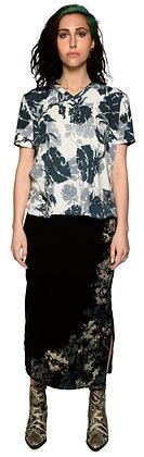 Fleece Slit Skirt Side Dabs Grey