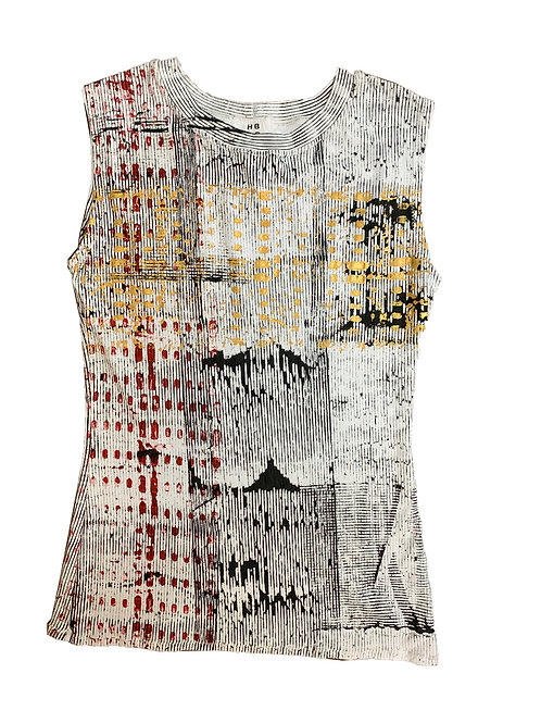 Fitted Sleeveless Crew Tee Cube/Line Print