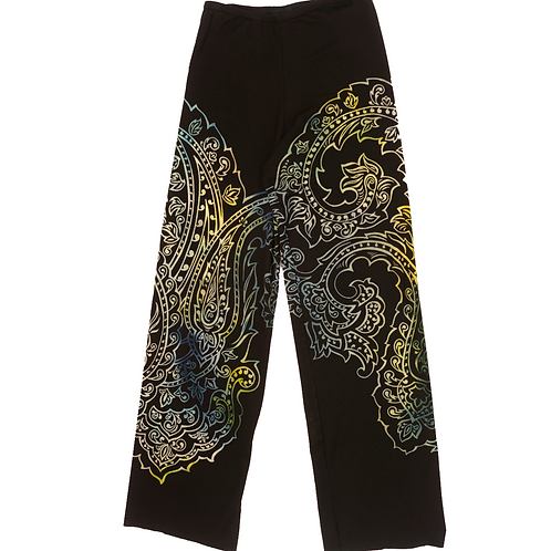 French Terry Stovepipe Pant Paisley Blue