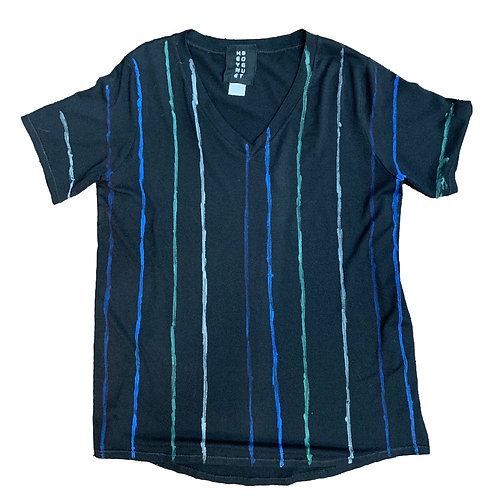S/S Easy V Tee Lines Pattern