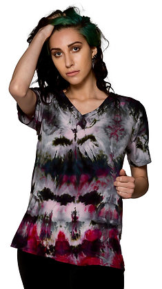 S/S Easy V Tee Fold Wht/Blk/Pink