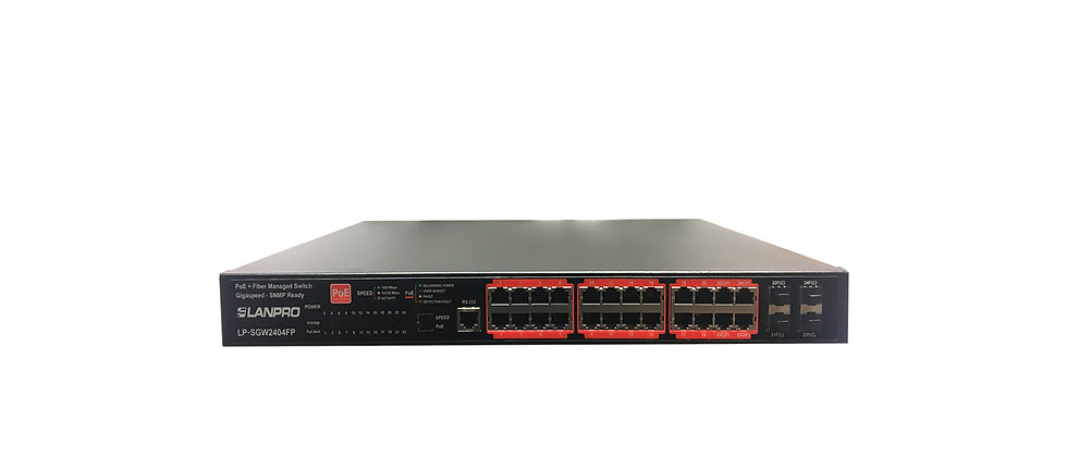 LanPro 24 Copper PoE + 4 Fiber Gigabit Managed Switch