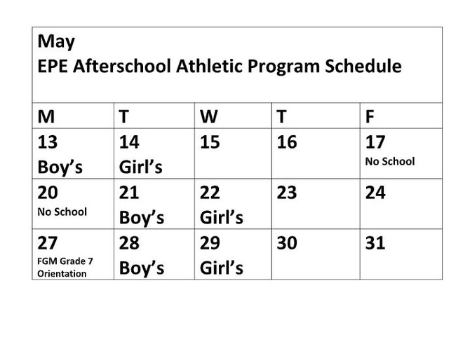 After School Athletics May Schedule