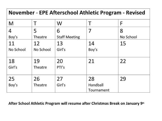 Revised After School Athletic Program Schedule